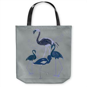 Unique Shoulder Bag Tote Bags   Yasmin Dadabhoy - Flamingo 2 Blue   bird nature simple pop art