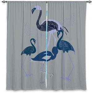 Decorative Window Treatments | Yasmin Dadabhoy - Flamingo 2 Blue | bird nature simple pop art