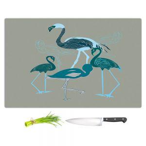 Artistic Kitchen Bar Cutting Boards | Yasmin Dadabhoy - Flamingo 2 Green | bird nature simple pop art