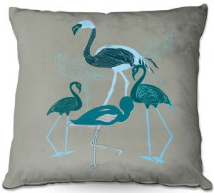 Throw Pillows Decorative Artistic | Yasmin Dadabhoy - Flamingo 2 Green | bird nature simple pop art