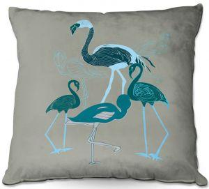 Throw Pillows Decorative Artistic | Yasmin Dadabhoy - Flamingo 2 Green | bird nature simple pop art