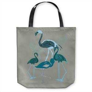 Unique Shoulder Bag Tote Bags   Yasmin Dadabhoy - Flamingo 2 Green   bird nature simple pop art