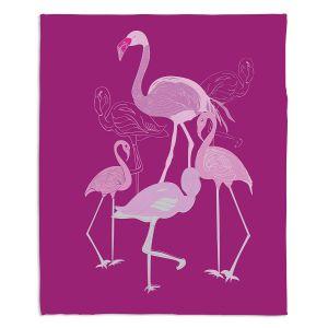 Artistic Sherpa Pile Blankets   Yasmin Dadabhoy - Flamingo 2 Magenta   bird nature simple pop art