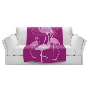 Artistic Sherpa Pile Blankets | Yasmin Dadabhoy - Flamingo 2 Magenta | bird nature simple pop art