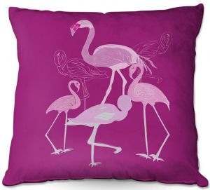 Decorative Outdoor Patio Pillow Cushion | Yasmin Dadabhoy - Flamingo 2 Magenta | bird nature simple pop art
