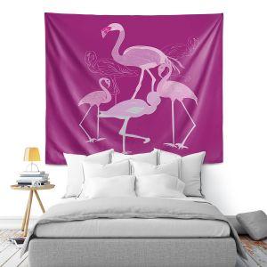 Artistic Wall Tapestry | Yasmin Dadabhoy - Flamingo 2 Magenta | bird nature simple pop art