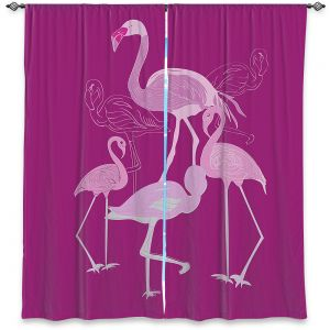 Decorative Window Treatments | Yasmin Dadabhoy - Flamingo 2 Magenta | bird nature simple pop art