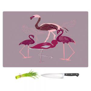 Artistic Kitchen Bar Cutting Boards | Yasmin Dadabhoy - Flamingo 2 Maroon | bird nature simple pop art