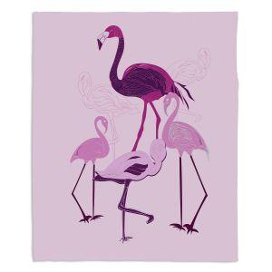 Decorative Fleece Throw Blankets | Yasmin Dadabhoy - Flamingo 2 Pink | bird nature simple pop art