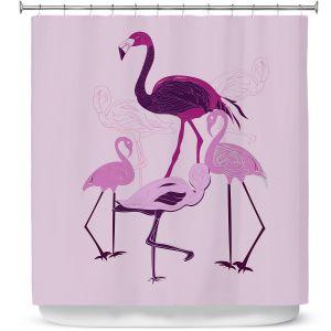 Premium Shower Curtains | Yasmin Dadabhoy - Flamingo 2 Pink | bird nature simple pop art