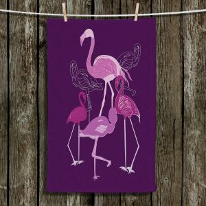 Unique Bathroom Towels | Yasmin Dadabhoy - Flamingo 2 Purple | bird nature simple pop art