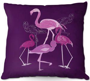 Throw Pillows Decorative Artistic | Yasmin Dadabhoy - Flamingo 2 Purple | bird nature simple pop art