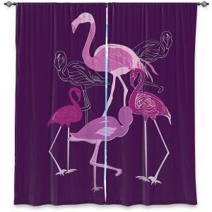 Decorative Window Treatments | Yasmin Dadabhoy - Flamingo 2 Purple | bird nature simple pop art