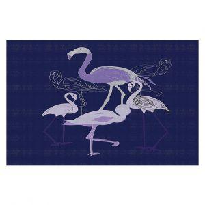 Decorative Floor Covering Mats | Yasmin Dadabhoy - Flamingo 2 Violet | bird nature simple pop art