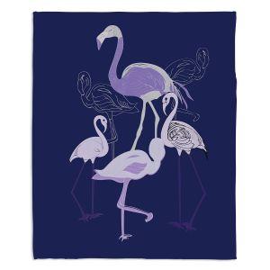Artistic Sherpa Pile Blankets   Yasmin Dadabhoy - Flamingo 2 Violet   bird nature simple pop art