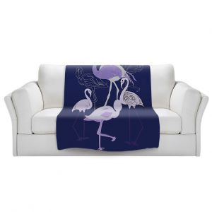 Artistic Sherpa Pile Blankets | Yasmin Dadabhoy - Flamingo 2 Violet | bird nature simple pop art
