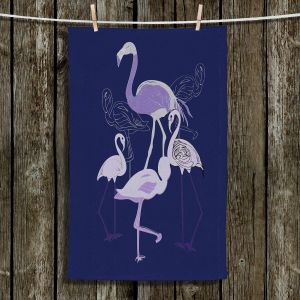 Unique Hanging Tea Towels | Yasmin Dadabhoy - Flamingo 2 Violet | bird nature simple pop art