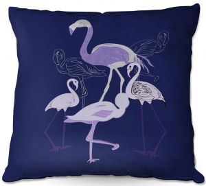 Decorative Outdoor Patio Pillow Cushion | Yasmin Dadabhoy - Flamingo 2 Violet | bird nature simple pop art