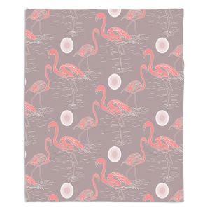 Decorative Fleece Throw Blankets | Yasmin Dadabhoy - Flamingo 3 Brown | bird nature repetition pattern