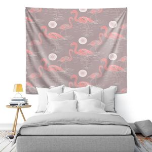 Artistic Wall Tapestry   Yasmin Dadabhoy - Flamingo 3 Brown   bird nature repetition pattern