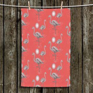 Unique Bathroom Towels | Yasmin Dadabhoy - Flamingo 3 Grapefruit | bird nature repetition pattern