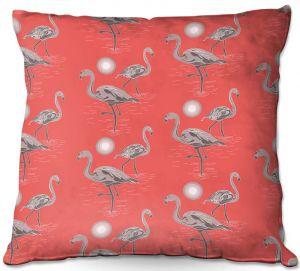 Throw Pillows Decorative Artistic | Yasmin Dadabhoy - Flamingo 3 Grapefruit | bird nature repetition pattern