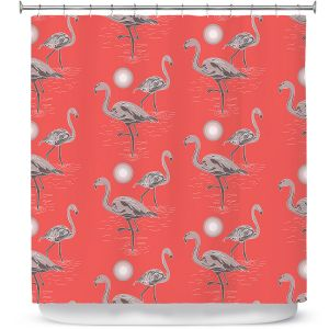 Premium Shower Curtains | Yasmin Dadabhoy - Flamingo 3 Grapefruit | bird nature repetition pattern