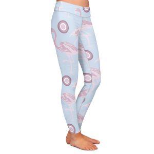 Casual Comfortable Leggings | Yasmin Dadabhoy - Flamingo 3 Light Blue | bird nature repetition pattern