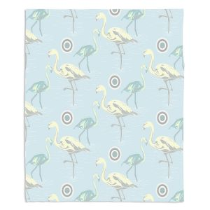 Decorative Fleece Throw Blankets | Yasmin Dadabhoy - Flamingo 3 Pale Blue | bird nature repetition pattern