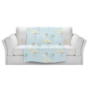 Artistic Sherpa Pile Blankets | Yasmin Dadabhoy - Flamingo 3 Pale Blue | bird nature repetition pattern