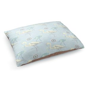 Decorative Dog Pet Beds | Yasmin Dadabhoy - Flamingo 3 Pale Blue | bird nature repetition pattern