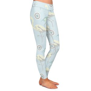 Casual Comfortable Leggings | Yasmin Dadabhoy - Flamingo 3 Pale Blue | bird nature repetition pattern