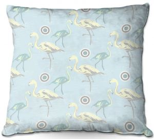 Decorative Outdoor Patio Pillow Cushion | Yasmin Dadabhoy - Flamingo 3 Pale Blue | bird nature repetition pattern