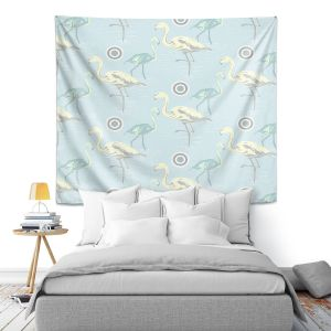 Artistic Wall Tapestry | Yasmin Dadabhoy - Flamingo 3 Pale Blue | bird nature repetition pattern