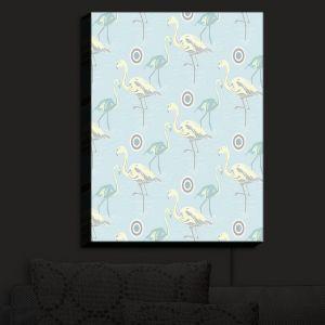 Nightlight Sconce Canvas Light | Yasmin Dadabhoy - Flamingo 3 Pale Blue | bird nature repetition pattern