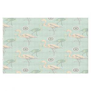 Decorative Floor Covering Mats | Yasmin Dadabhoy - Flamingo 3 Pale Green | bird nature repetition pattern