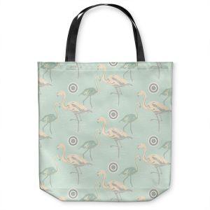 Unique Shoulder Bag Tote Bags   Yasmin Dadabhoy - Flamingo 3 Pale Green   bird nature repetition pattern