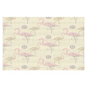 Decorative Floor Covering Mats | Yasmin Dadabhoy - Flamingo 3 Pale Yellow | bird nature repetition pattern