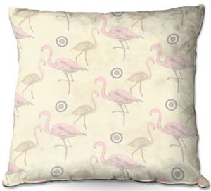 Decorative Outdoor Patio Pillow Cushion | Yasmin Dadabhoy - Flamingo 3 Pale Yellow | bird nature repetition pattern