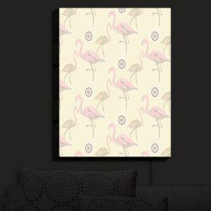 Nightlight Sconce Canvas Light   Yasmin Dadabhoy - Flamingo 3 Pale Yellow   bird nature repetition pattern