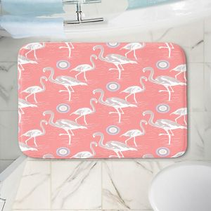 Decorative Bathroom Mats | Yasmin Dadabhoy - Flamingo 3 Peach | bird nature repetition pattern