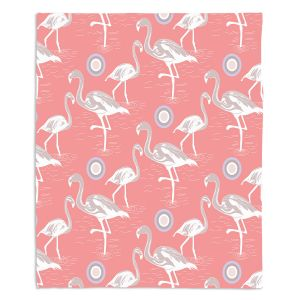 Decorative Fleece Throw Blankets | Yasmin Dadabhoy - Flamingo 3 Peach | bird nature repetition pattern