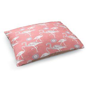 Decorative Dog Pet Beds | Yasmin Dadabhoy - Flamingo 3 Peach | bird nature repetition pattern