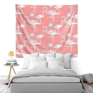 Artistic Wall Tapestry | Yasmin Dadabhoy - Flamingo 3 Peach | bird nature repetition pattern
