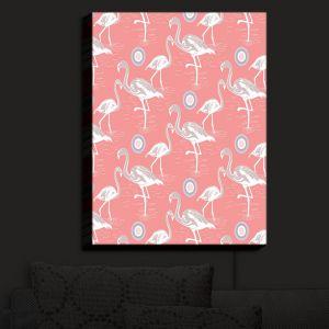 Nightlight Sconce Canvas Light | Yasmin Dadabhoy - Flamingo 3 Peach | bird nature repetition pattern