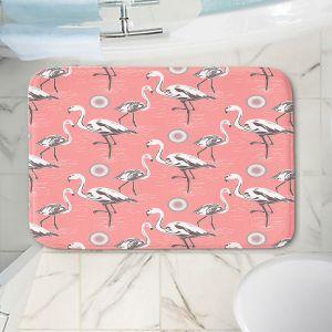 Decorative Bathroom Mats | Yasmin Dadabhoy - Flamingo 3 Pink | bird nature repetition pattern
