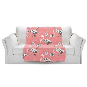 Artistic Sherpa Pile Blankets | Yasmin Dadabhoy - Flamingo 3 Pink | bird nature repetition pattern