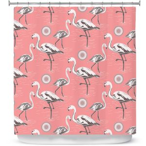 Premium Shower Curtains | Yasmin Dadabhoy - Flamingo 3 Pink | bird nature repetition pattern