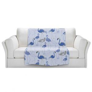 Artistic Sherpa Pile Blankets | Yasmin Dadabhoy - Flamingo 4 Blue | bird nature repetition pattern