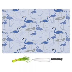 Artistic Kitchen Bar Cutting Boards   Yasmin Dadabhoy - Flamingo 4 Blue   bird nature repetition pattern